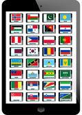 Set of nation flag on teblet background