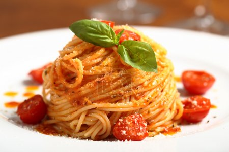 Photo for Isolated Italian pasta spaghetti with tomato - Royalty Free Image