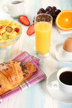 Photo for Croissant on breakfast table with coffee - Royalty Free Image