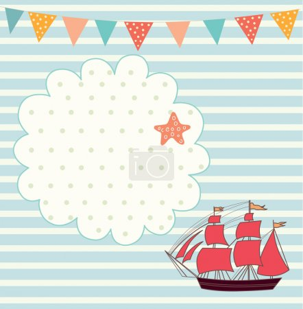 Sea blue striped illustration with sail boat