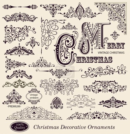Photo for Vector set of Christmas Vintage Ornaments, Design Elements and page decoration - Royalty Free Image