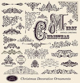 Vector set of Christmas Vintage Ornaments Design Elements and page decoration