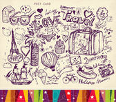 Pencil hand drawn illustration on theme travels