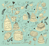 Vector background with symbols of food France