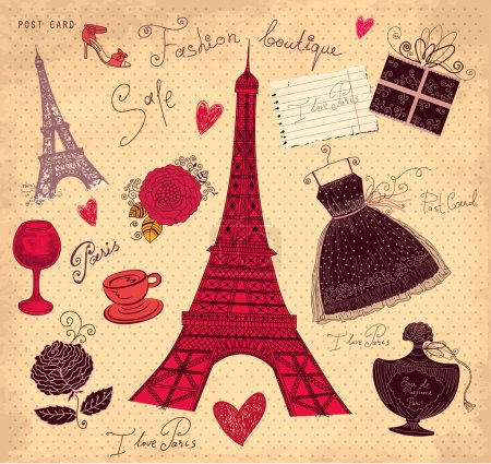 Vector hand drawn vintage illustration with symbols of french fashion