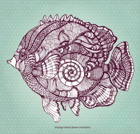 Hand drawn fish with elements of a flower ornament