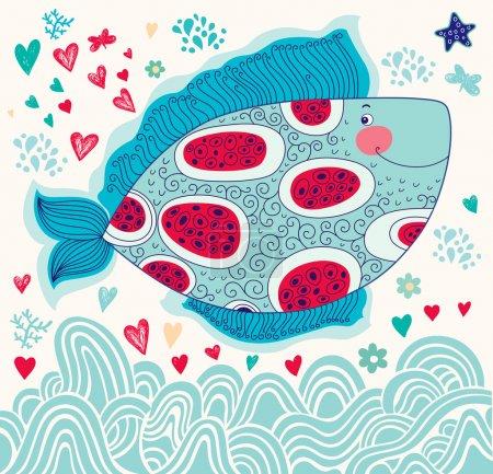Illustration pour Vecteur dessin animé drôle de poisson. La vie sous-marine. Carte de vacances - image libre de droit