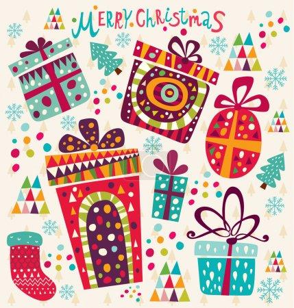 Illustration pour Carte de Noël vintage avec boîtes cadeaux - image libre de droit