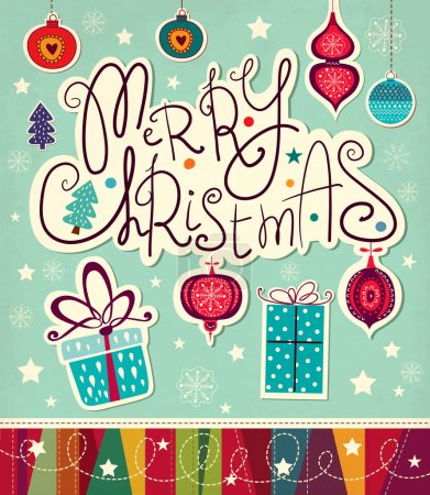 Merry Christmas and Happy New Year card with gift boxes
