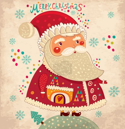 Merry Christmas and Happy New Year card with Santa