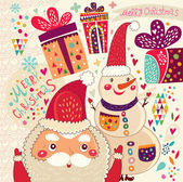 Christmas and New Year card with Santa and Snowman