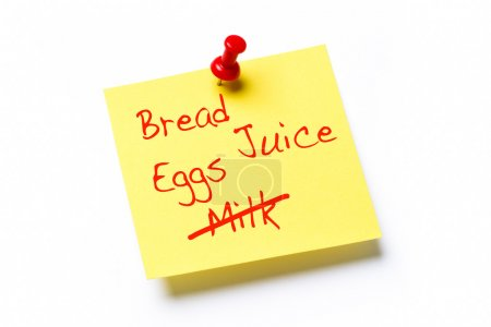 Yellow paper note with the words Bread, Juice, Egg...