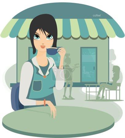 Illustration pour Femme sirotant du café dans un café comme toile de fond . - image libre de droit