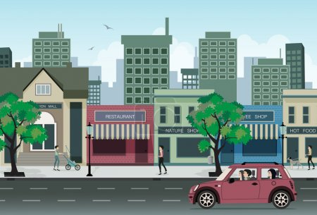 Illustration for Restaurants in the city serving the street. - Royalty Free Image