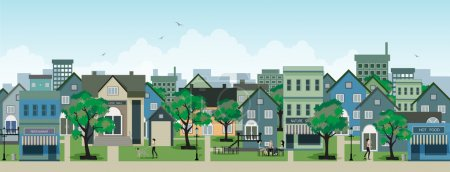 Illustration for Restaurants in the city with buildings in the background. - Royalty Free Image