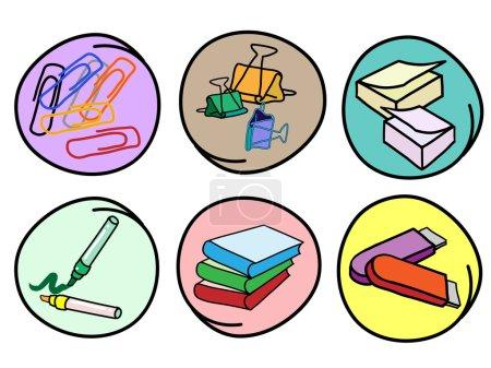 Set of School Supplies on Round Background