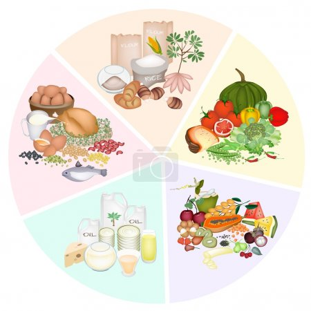 Photo for A Pie Chart of Food Groups for Carbohydrate, Protein, Fat, Vitamin and Mineral to Improve Nutrient Intake and Health Benefits - Royalty Free Image