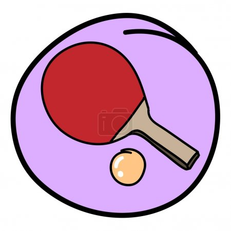 Table Tennis Bat with Ball on Purple Round Background
