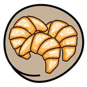 Food and Bakery A Cartoon Illustration of Three Fresh Croissants Icon in Brown Circle Fram