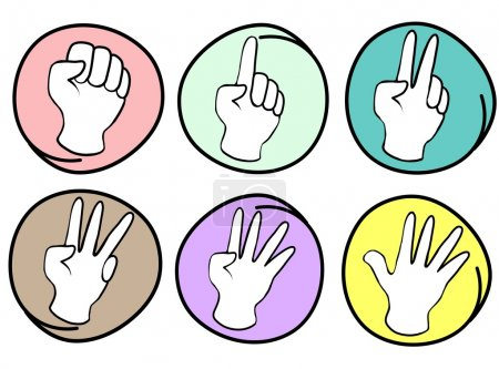 Person Counting Hands 0 to 5 on Round Background