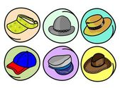 Set of Hats and Caps on Round Background