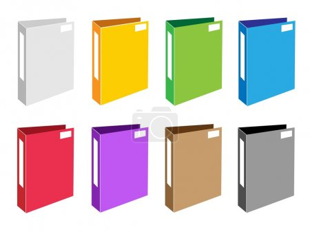 Colorful Illustration Set of Office Folder Icons