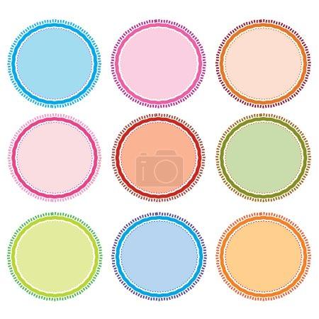 Colorful Illustration Set of Circle Frames for Design