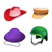 Set of Hats and Helmet on White Background