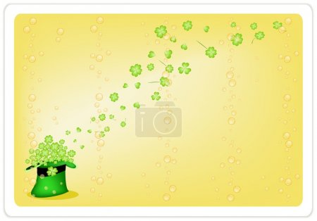Yellow Background of Four Leaf Clovers in Green Hat