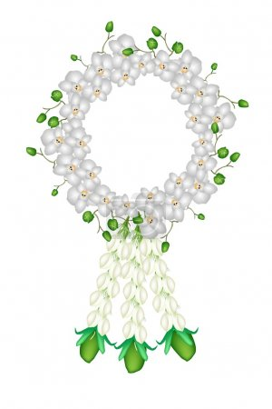 A Fresh White Colors of Moon Orchids Garland