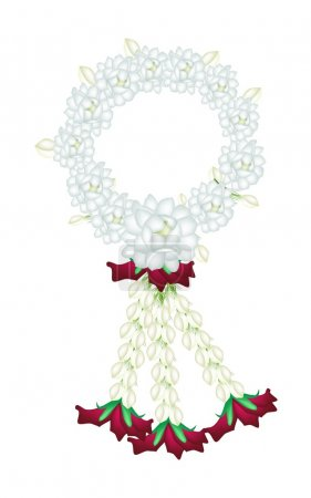 A Fresh White Colors of Jasmine Flowers Garland