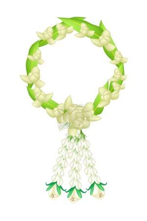 A Fresh White Colors of Ylang Ylang Flowers Garland