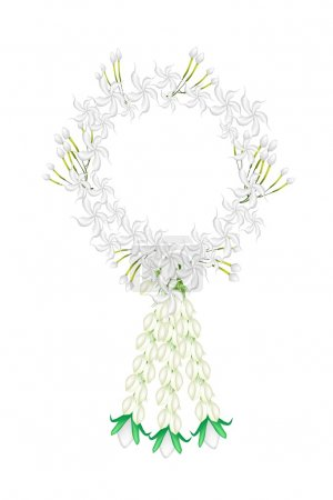 A Fresh White Colors of Cape Jasmine Garland