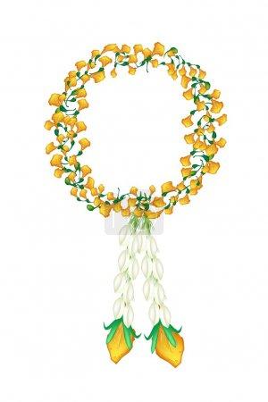 Fresh Jasmine Flowers with Yellow Padauk Flower Garland