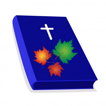 Holy Bible with Wooden Cross and Maple Leaves