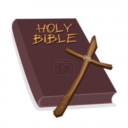 A Brown Holy Bible with A Wooden Cross