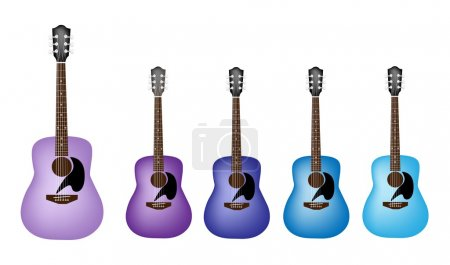 Beautiful Blue and Purple Colors of Acoustic Guitars