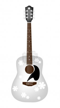Beautiful Flowers Pattern on White Acoustic Guitar