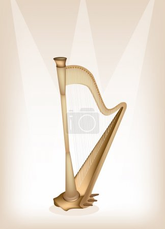 A Beautiful Harp on Brown Stage Background