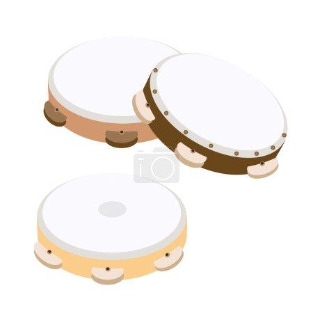 Beautiful Three Wooden Tambourine on White Background