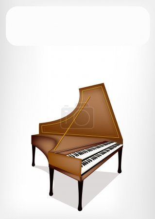 A Retro Harpsichord with A White Banner