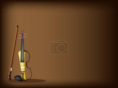 A Beautiful Modern Violin on Dark Brown Background