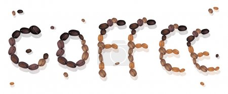 Coffee Word Made of Roasted Coffee Beans