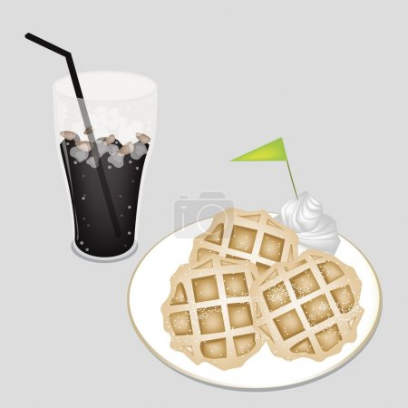 Sweet Black Iced Coffee with Tradition Waffle