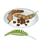 A Plate of Fresh Tamarind Pod and Seed