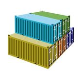 A Group of Cargo Containers on White Background