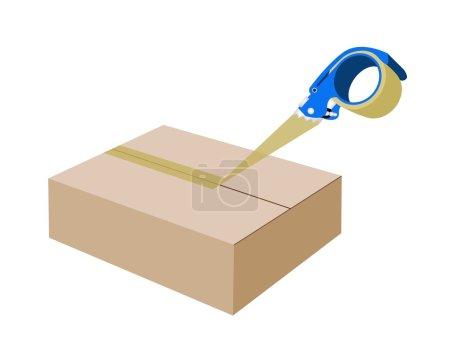 Illustration pour Un distributeur de ruban d'emballage bleu ou un distributeur de ruban adhésif fermant une boîte en carton brun isolée sur fond blanc - image libre de droit