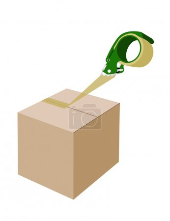 An Adhesive Tape Dispenser Closing A Cardboard Box