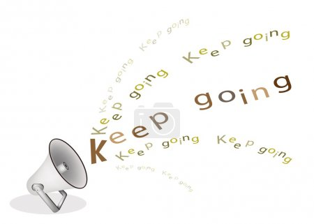 A Silver Megaphone Shouting Word Keep Going