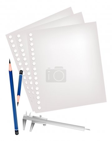 Two Pencils and Caliper with Blank Page